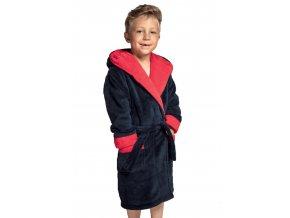 Chlapčenský soft dvojfarebný župan Delfino blue / red Envie