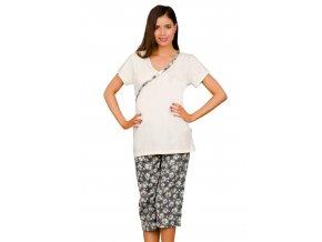 Dámske pyžamo Wiktoria capri so vzorom kvetov Taro