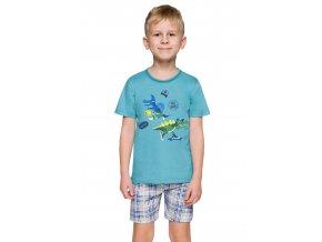 Chlapčenské pyžamo Damian s obrázkom dinosaura a kraťasy Taro