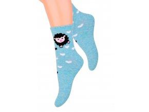 Dievčenské klasické ponožky s obrázkom ovečky 014/14 STEVEN