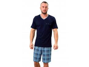 Pánske pyžamo Leon s kraťasy so vzorom kocky M-Max