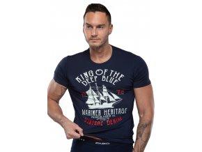 Pánske jednofarebné tričko s nápisom King of the deep blue Fabio