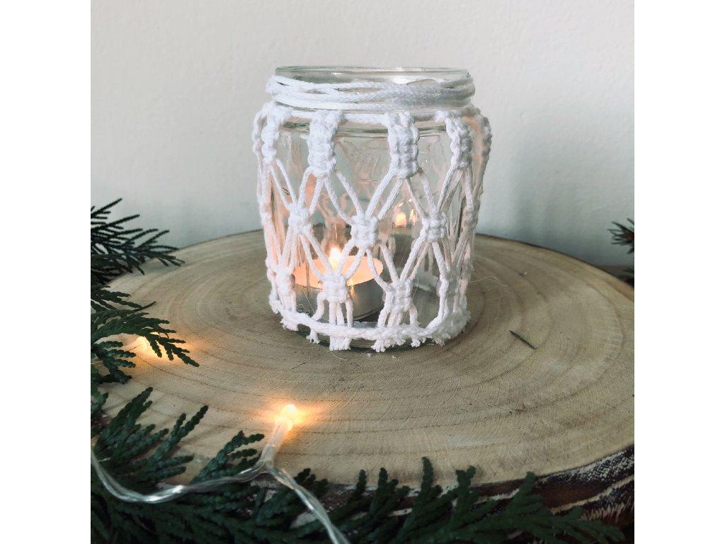 Bílý skleněný macramé svícen