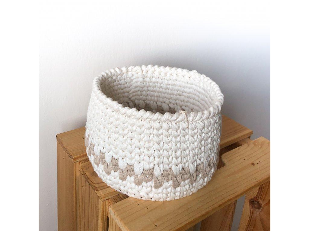 Béžový bavlněný košík Adri, ⌀ 18 cm