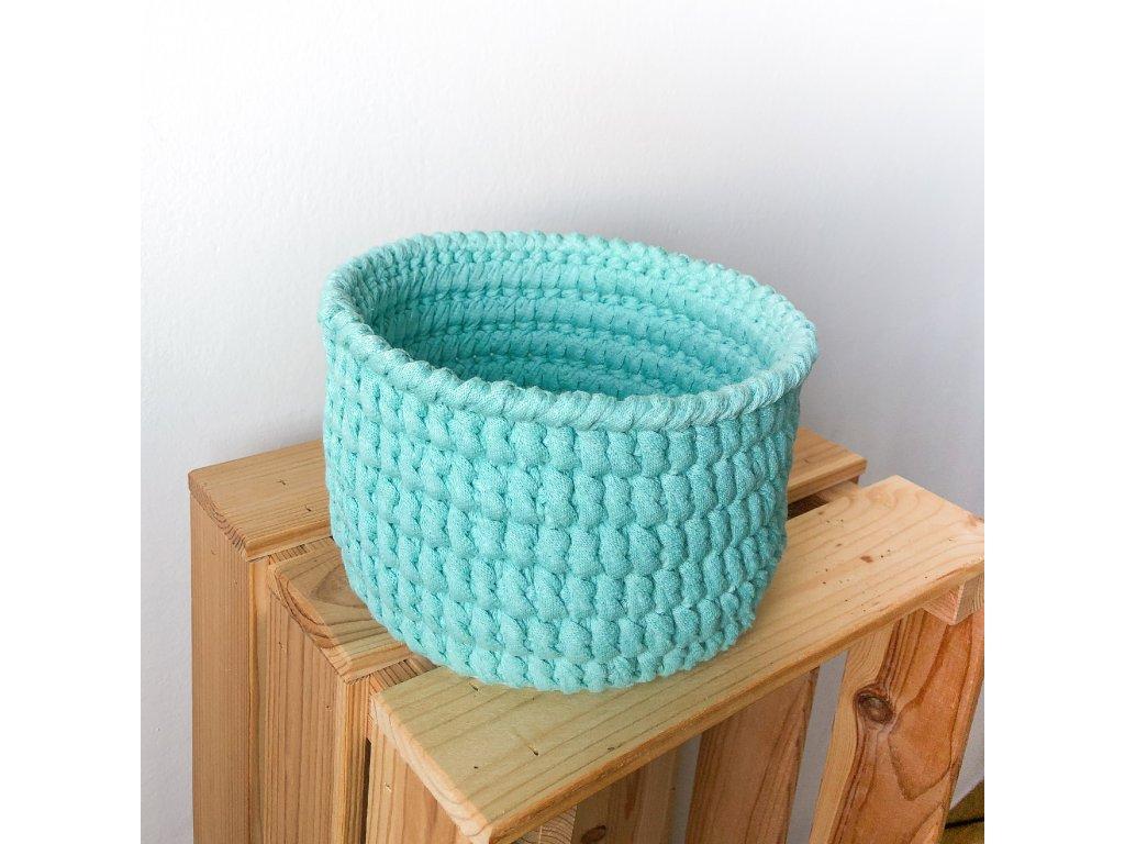 Mentolově zelený bavlněný košík Mint, ⌀ 20 cm
