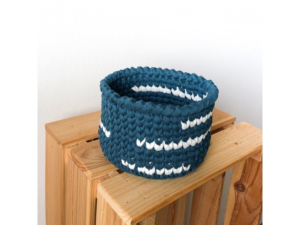 Tmavě modrý bavlněný košík Navy, ⌀ 16 cm