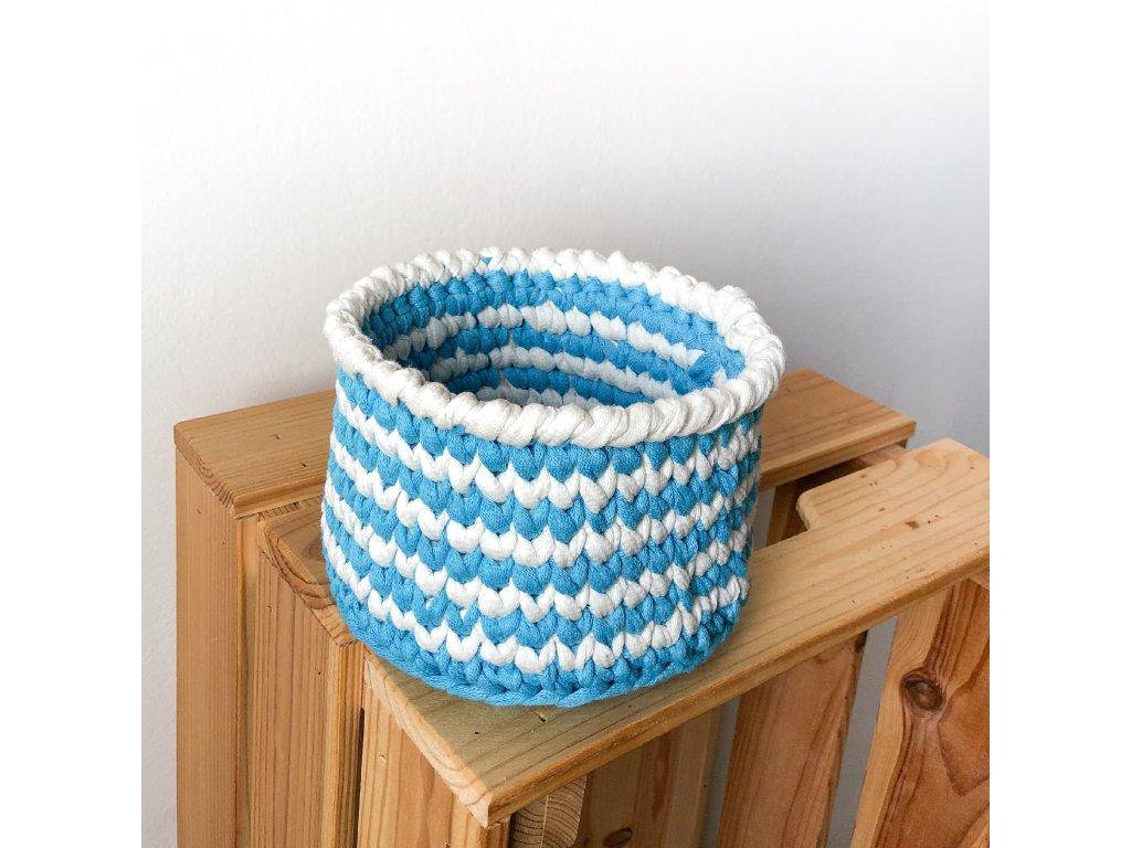 Modrobílý bavlněný košík Stripe, ⌀ 15 cm