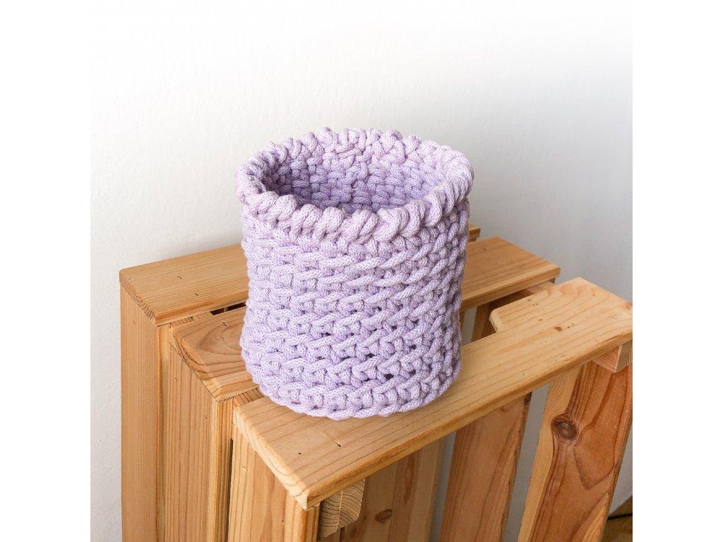 Světle fialový bavlněný košík Bubble, ⌀ 13 cm