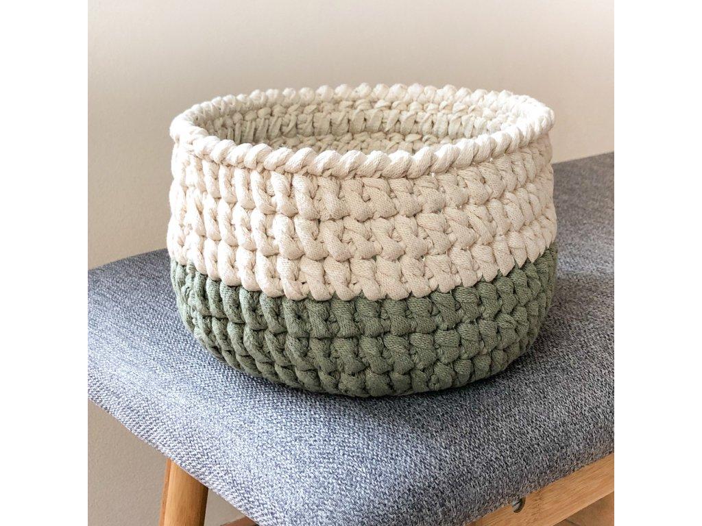 Béžovo-zelený háčkovaný košík Vera, ⌀ 18 cm