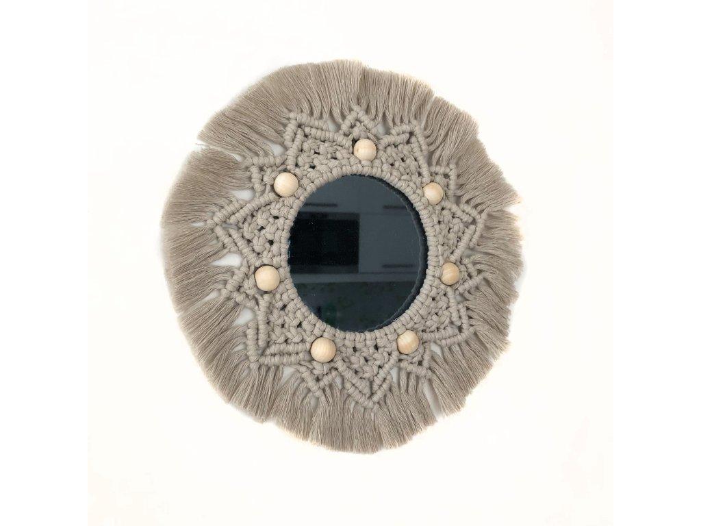 Béžové macramé závěsné zrcadlo, ⌀ 29 cm