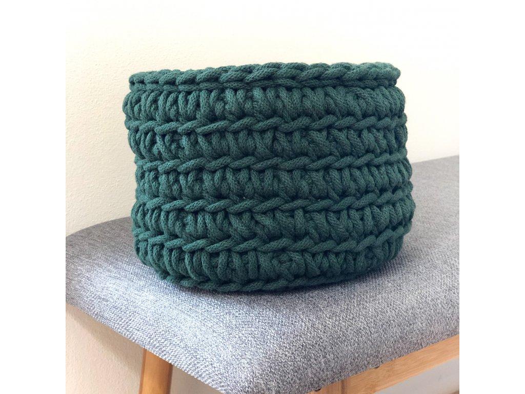 Tmavě zelený háčkovaný košík Gerda, ⌀ 21 cm