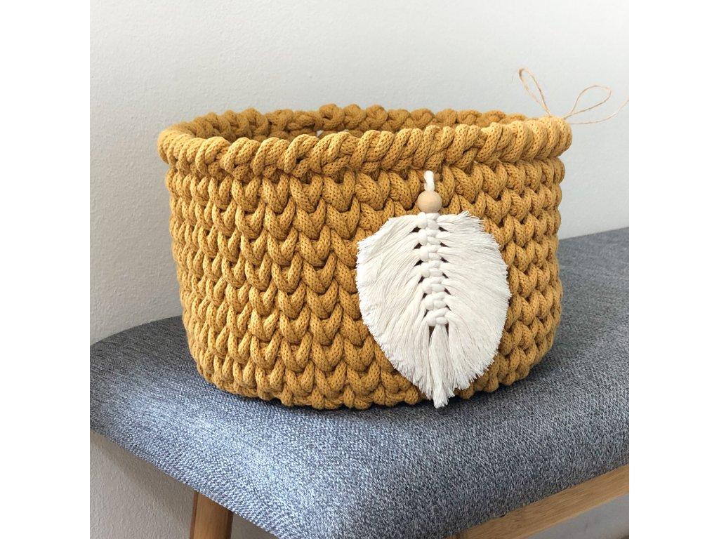 Hořčicově žlutý košík Pírko, ⌀ 22 cm