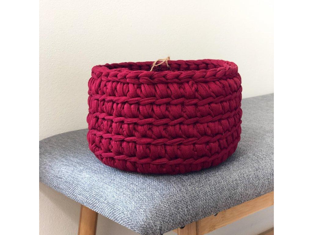 Vínově červený háčkovaný košík Lycra, ⌀ 19 cm