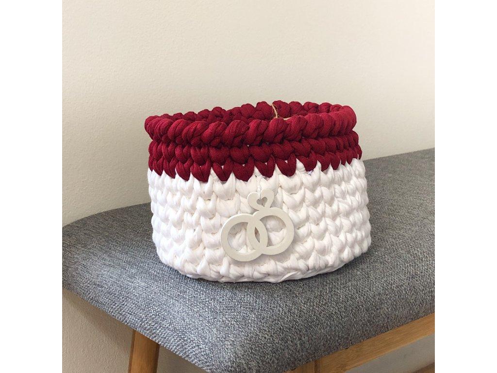 Červenobílý háčkovaný košík Lycra, ⌀ 17 cm