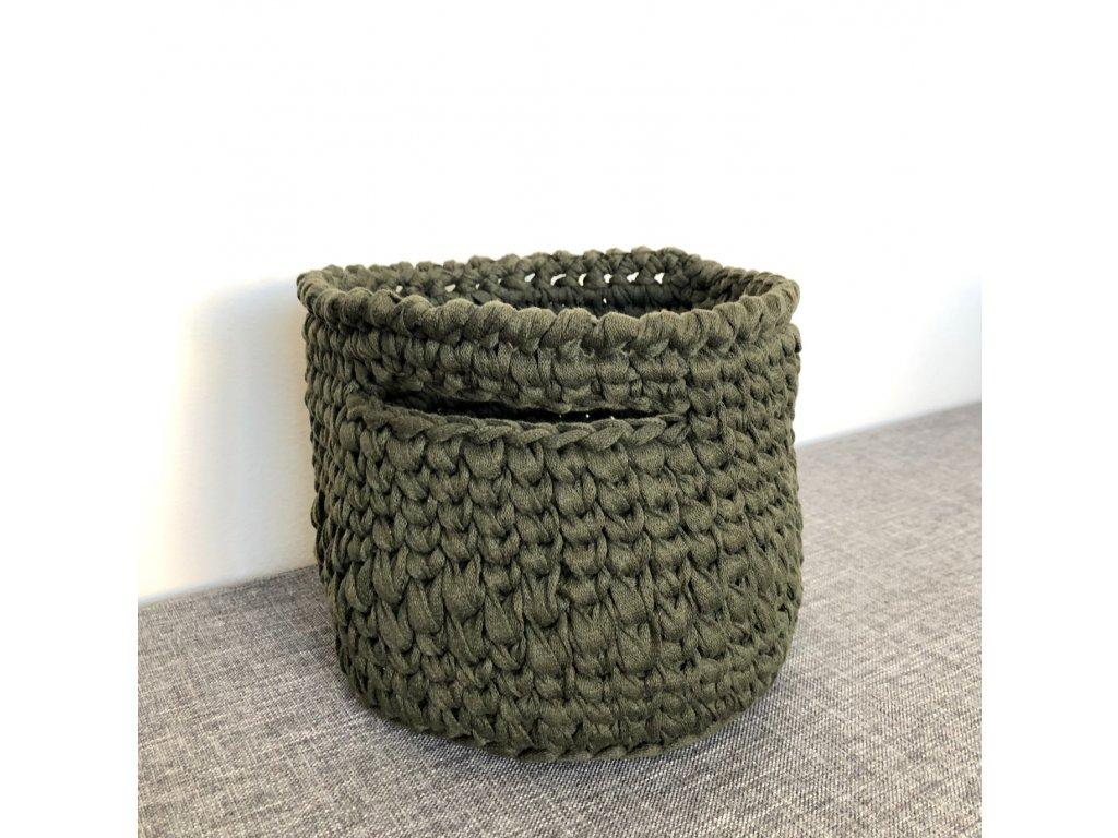 Tmavě zelený košík s uchem Tara, ⌀ 18 cm
