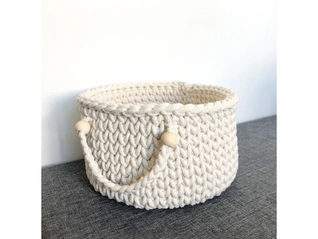 Smetanově bílý košík s uchem Mara, ⌀ 24 cm