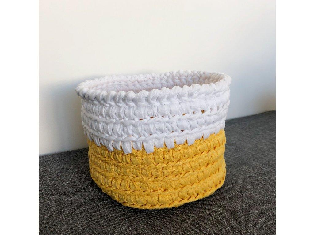 Žlutobílý košík s uchem Sunny, ⌀ 22 cm