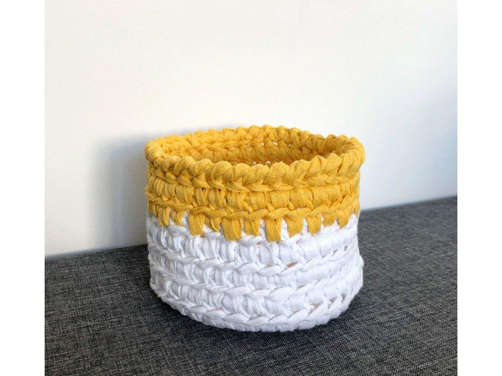 Žlutobílý košík s uchem Sunny, ⌀ 17 cm
