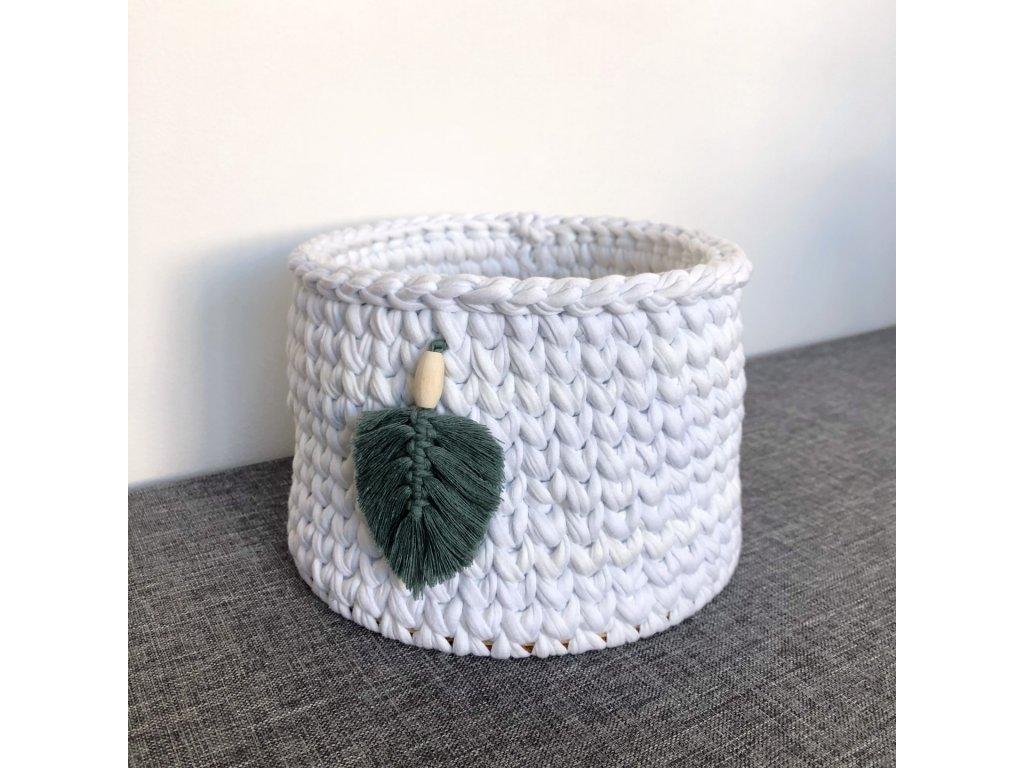 Bílý háčkovaný košík Tyrkysové Pírko, ⌀ 20 cm