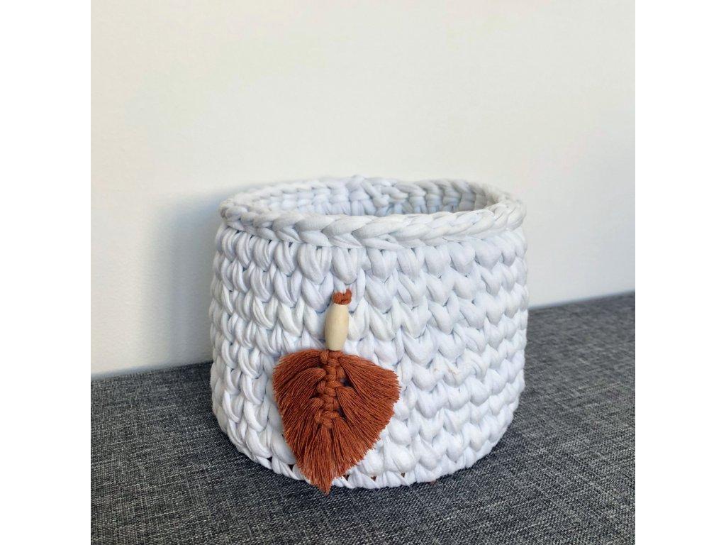 Bílý háčkovaný košík Cihlové Pírko, ⌀ 16 cm