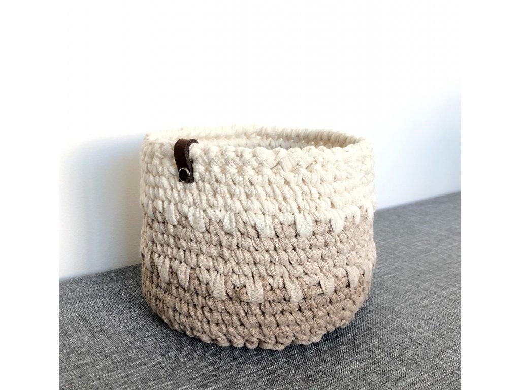 Hnědo-béžový košík s koženým poutkem Verona, ⌀ 17 cm