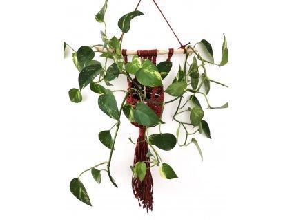 Macramé závěs na kytku Kapsář, 31 x 61 cm