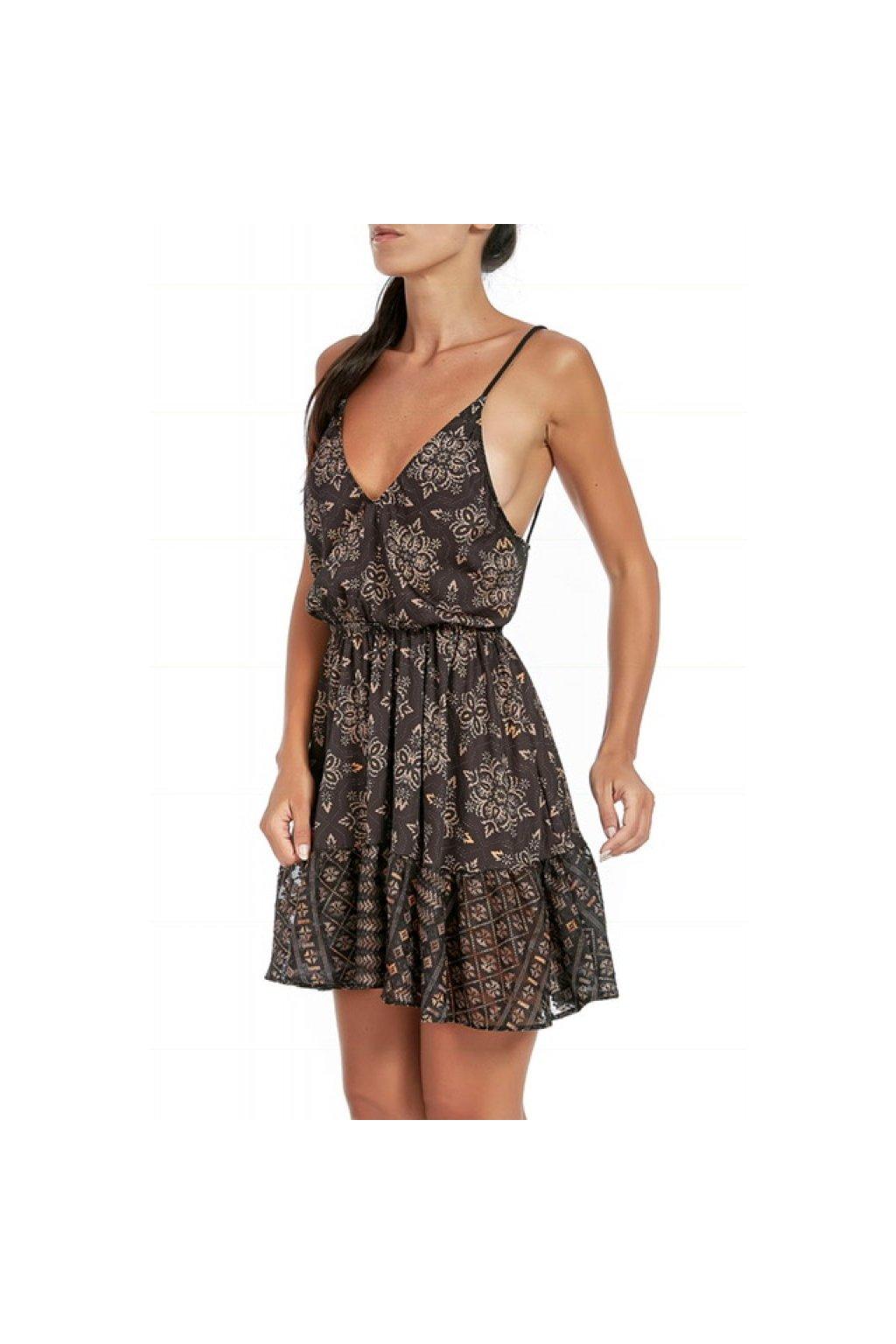 Šaty Effek - krátké, hnědé s holými zády (Velikost Velikost L)