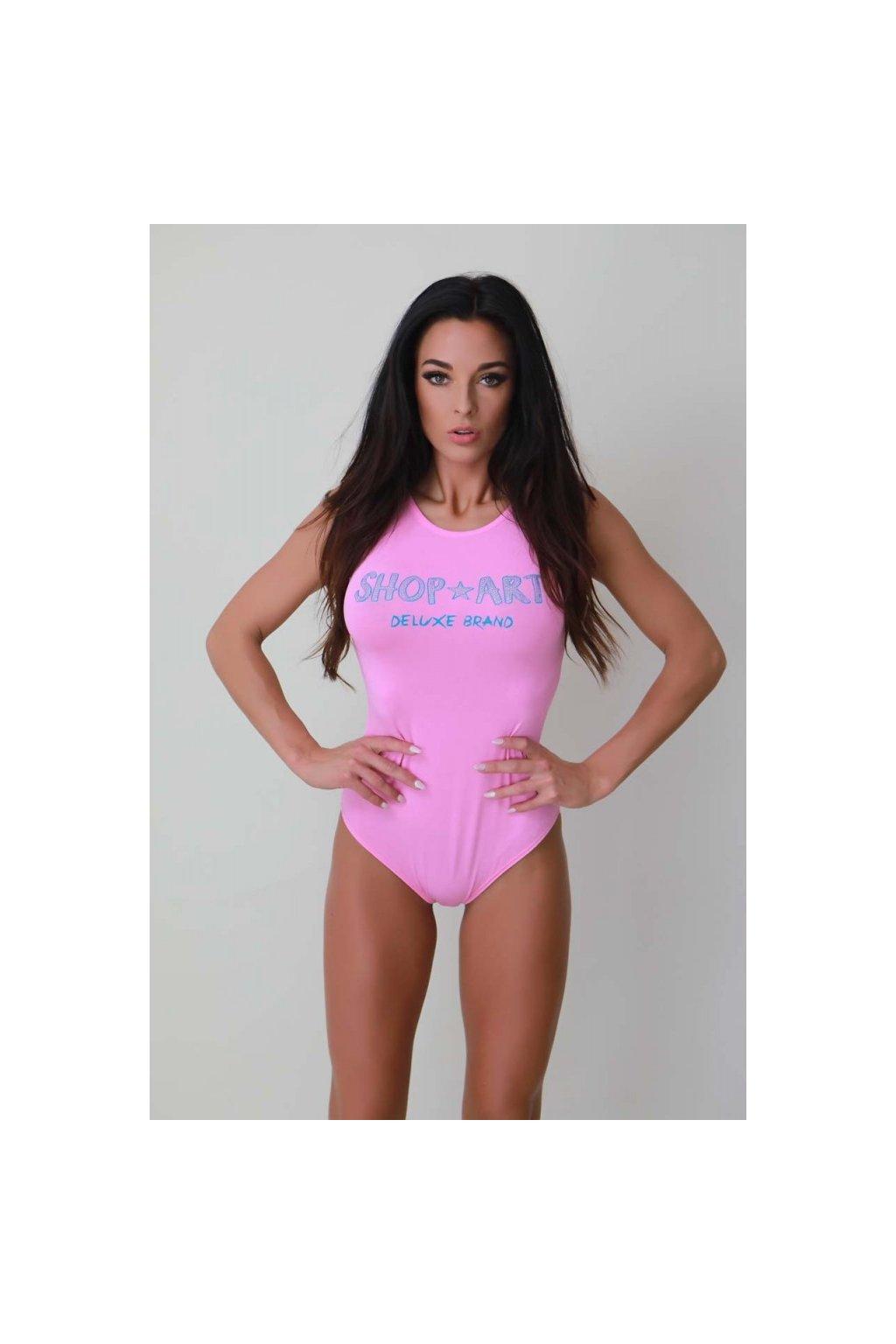 Body Shop Art - růžové s modrým kamínkovým nápisem (Velikost Velikost M)