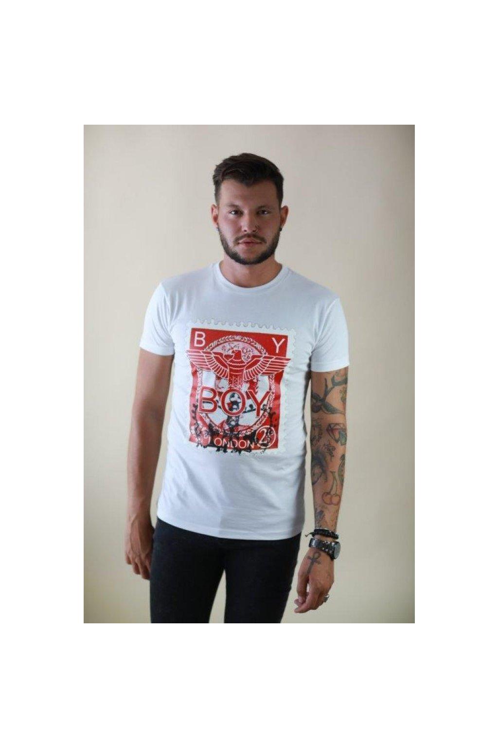 Tričko Boy London - bílé s červenou známkou (Velikost Velikost XL)