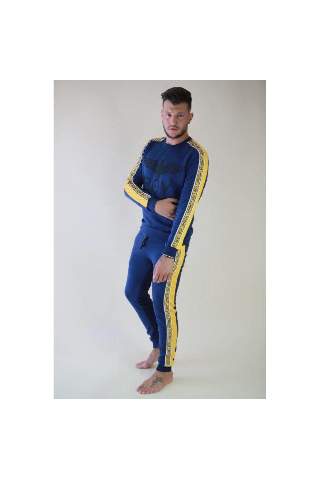 Tepláky Boy London - modré se žlutým lemem (Velikost Velikost XXL)