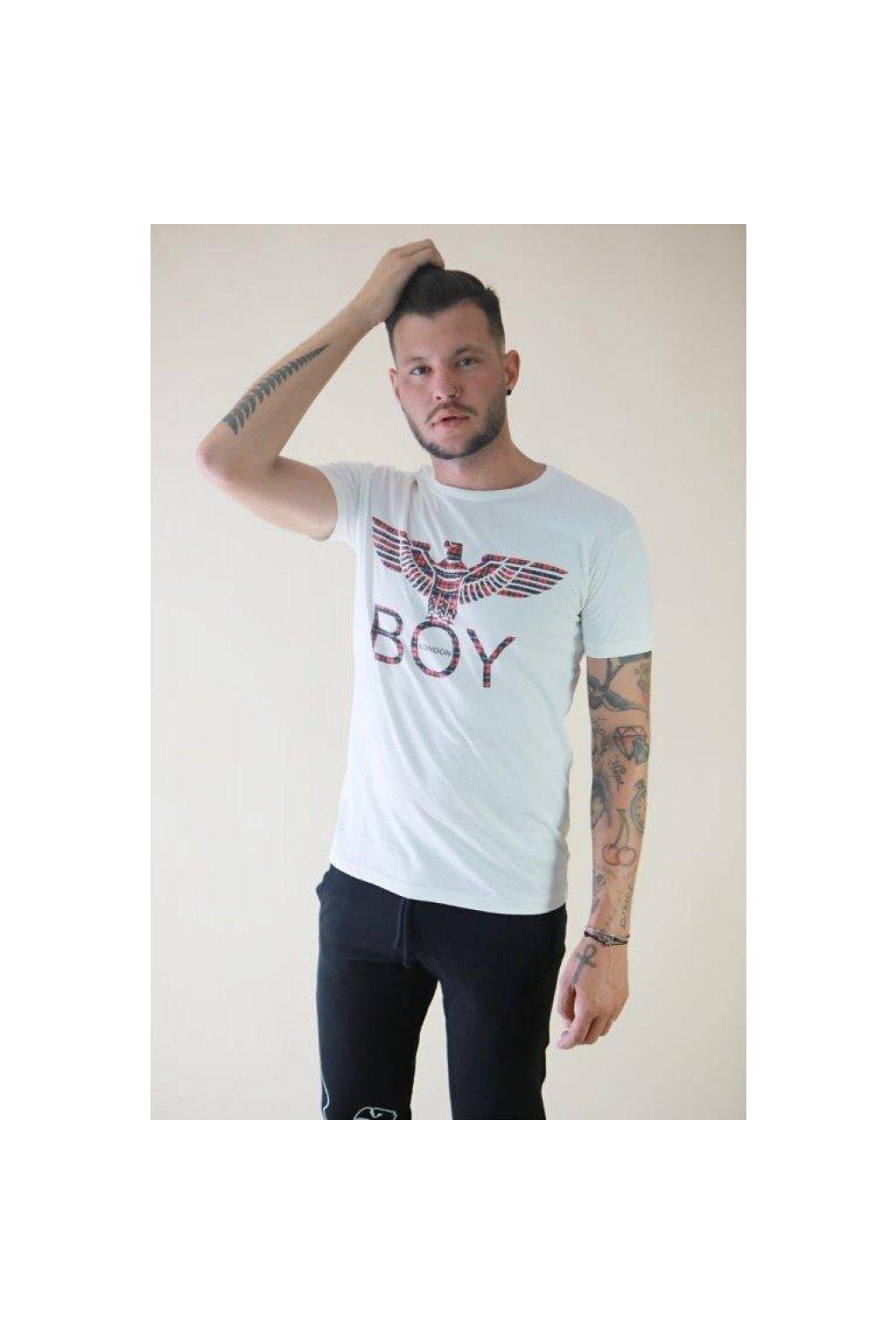 Tričko Boy London - smetanové s károvým znakem (Velikost Velikost XXL)