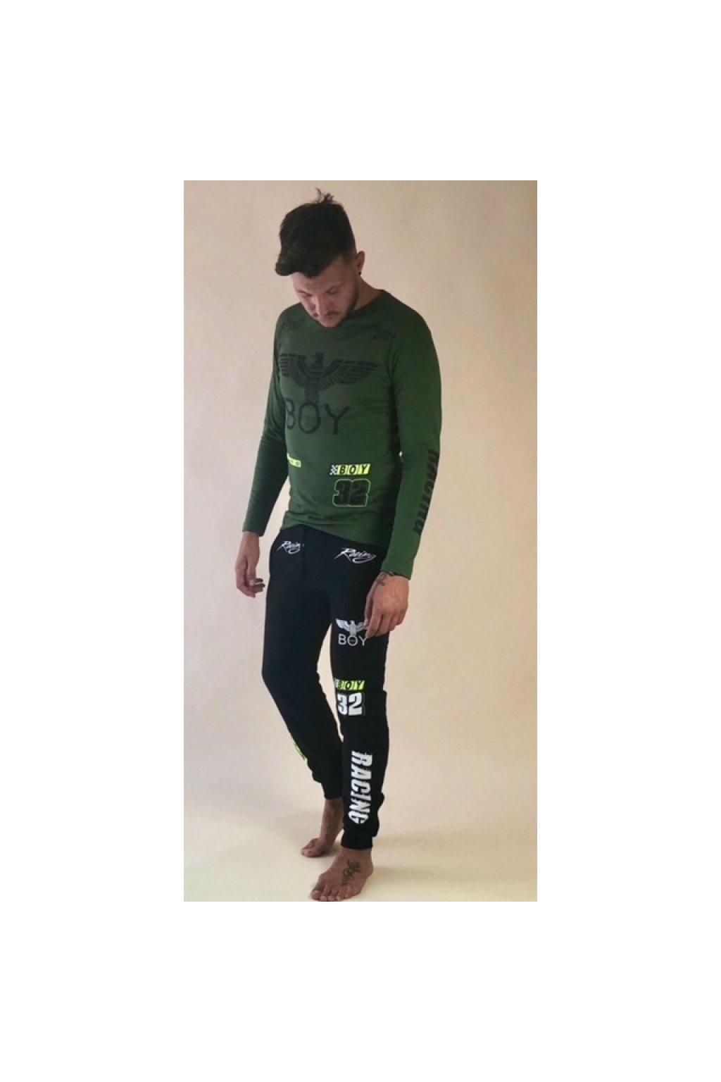 Tričko Boy London s dlouhým rukávem - RACE khaki (Velikost Velikost XXL)