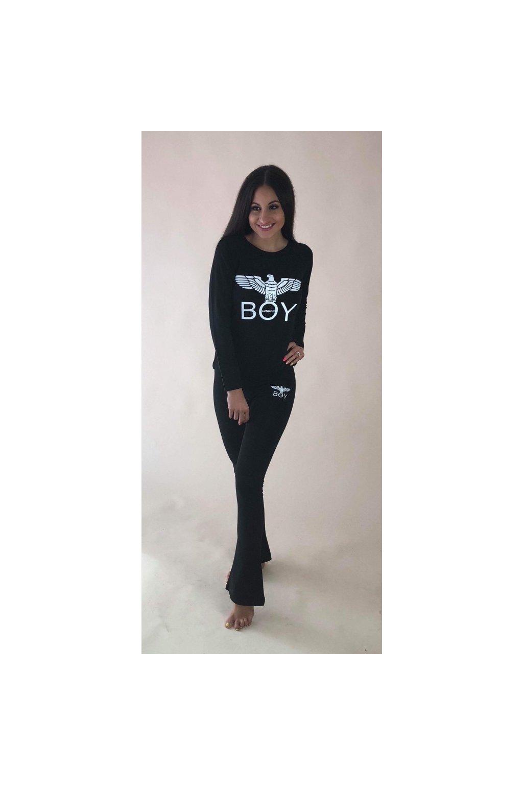 Tričko Boy London s dlouhým rukávem - černé s bílým znakem (Velikost Velikost XS)