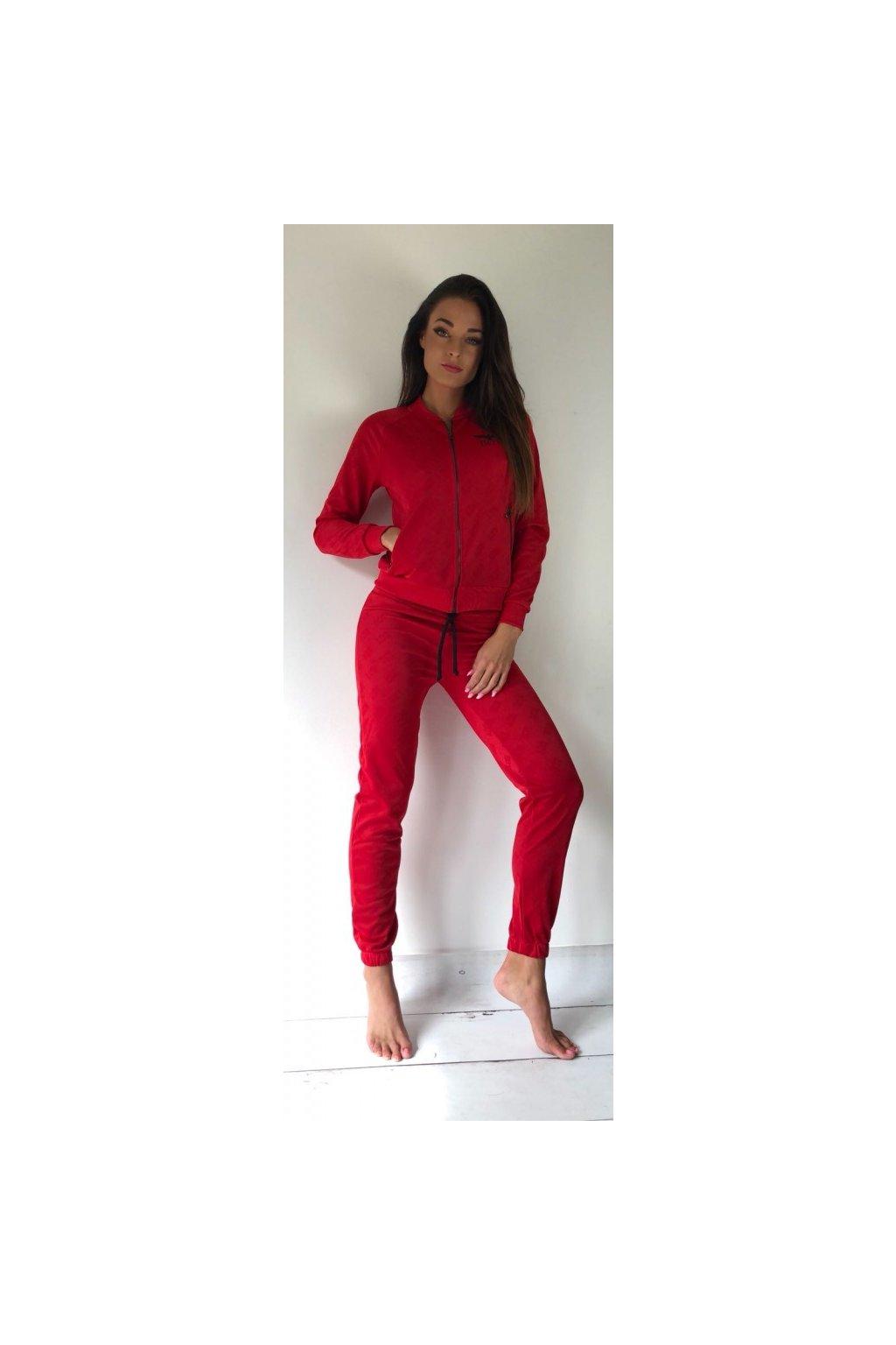 Mikina Boy London na zip s potiskem - červená (Velikost Velikost M)