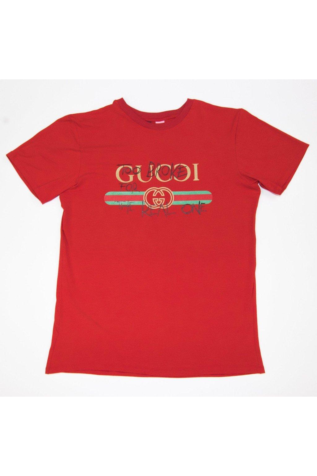 Tričko TooBroke styl Gucci - červené (Velikost Velikost S)