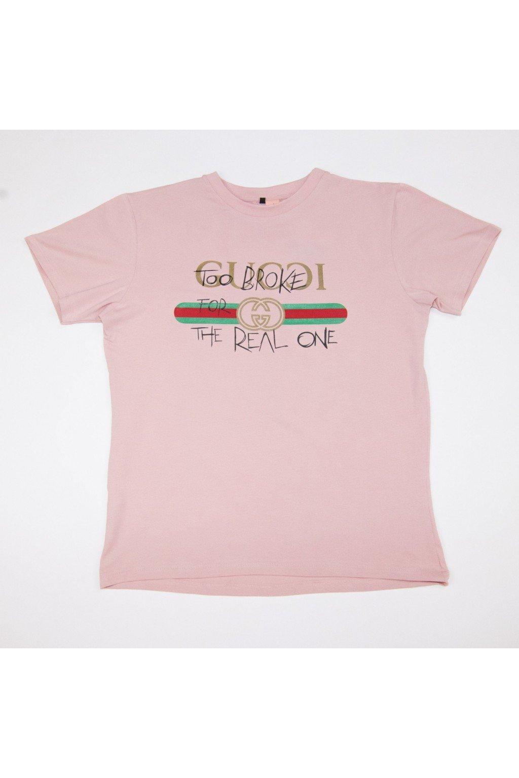 Tričko TooBroke styl Gucci - růžové (Velikost Velikost M)
