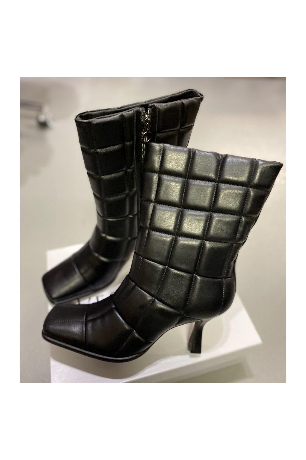 L´ESTROSA nízké kozačky na podpatku - černé (Velikost Velikost 38)