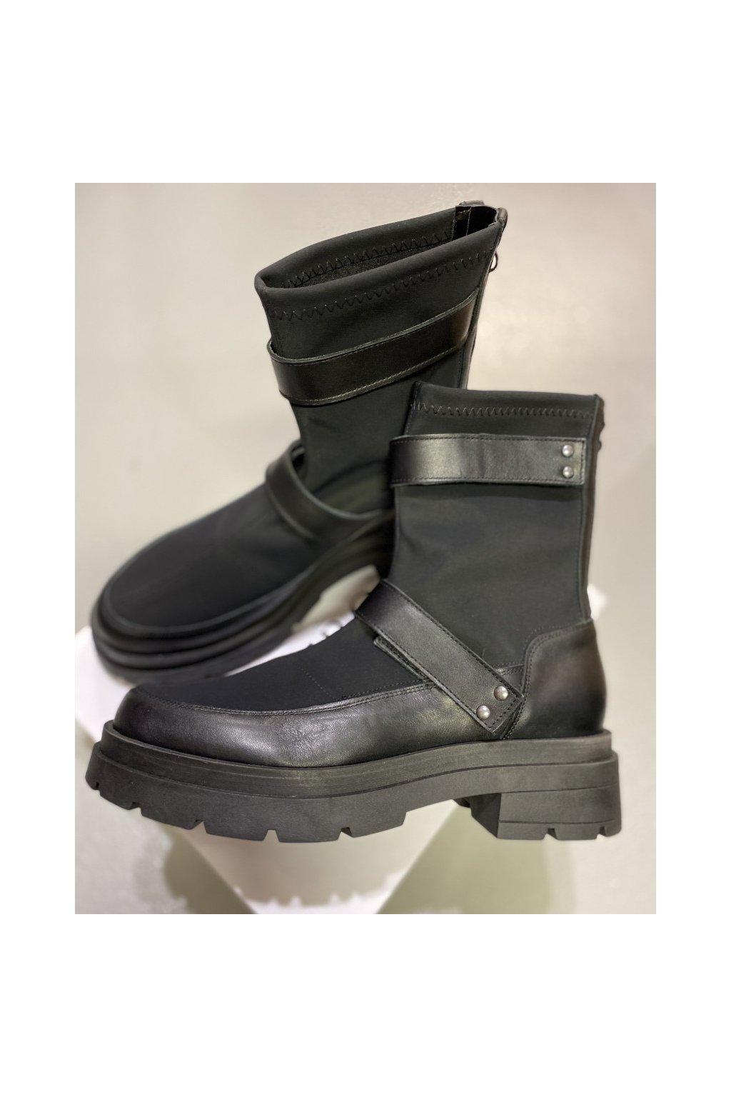 L´ESTROSA nízké kožené boty - černé (Velikost Velikost 40)