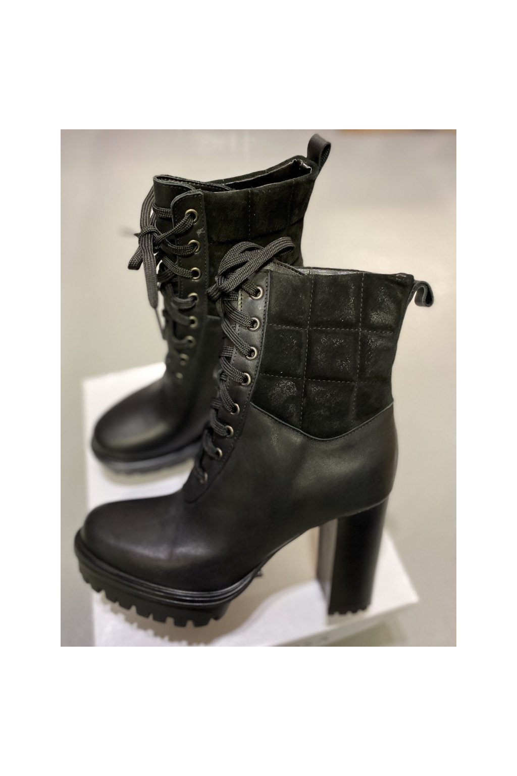 L´ESTROSA kožené boty na podpatku - černé (Velikost Velikost 40)