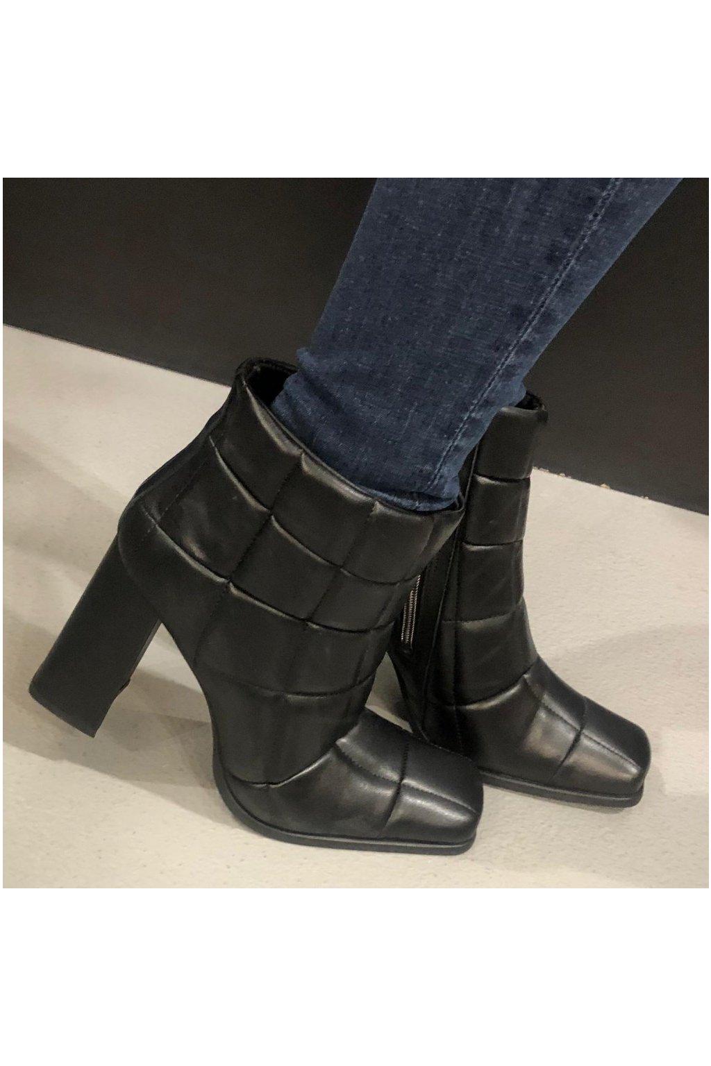 L´ESTROSA kožené boty na širokém podpatku - černé (Velikost Velikost 38)