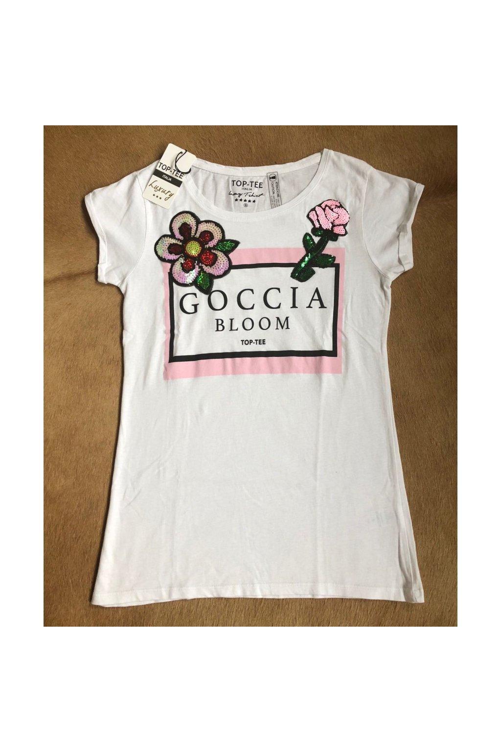 Tričko Top-Tee s nápisem Goccia Bloom - bílé (Velikost Velikost S)