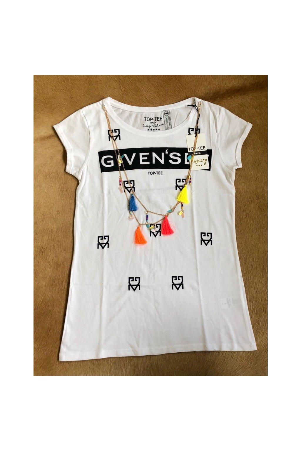 Tričko Top-Tee s nápisem Given´see a řetízkem - bílé (Velikost Velikost XS)