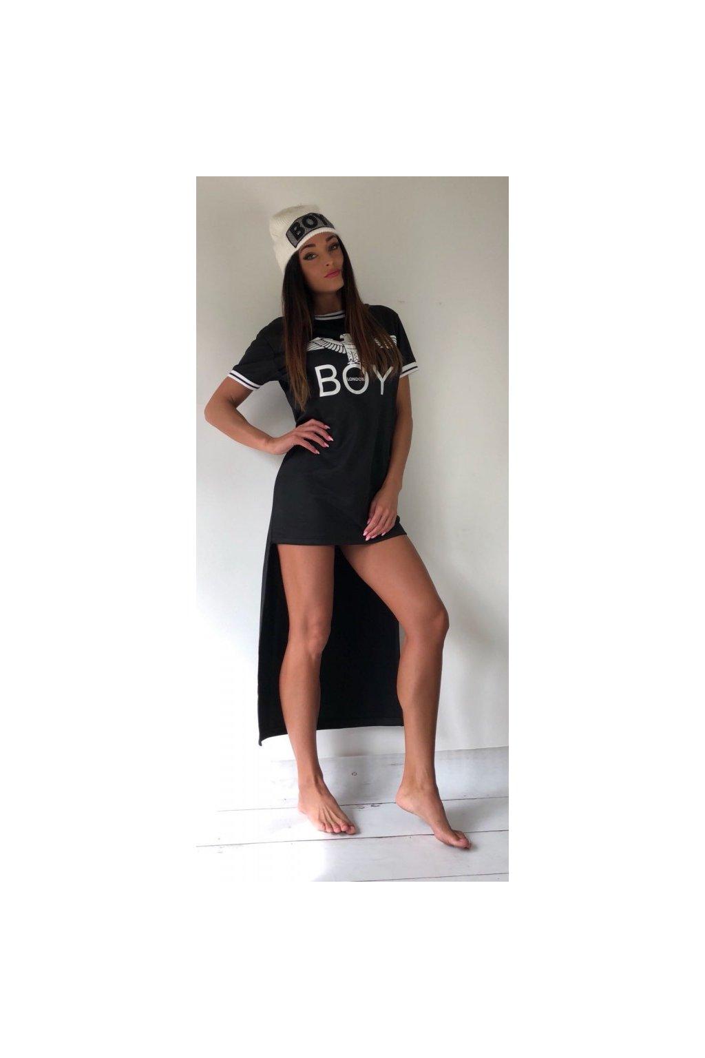 Šaty Boy London s prodlouženou délkou - černé (Velikost Velikost S)