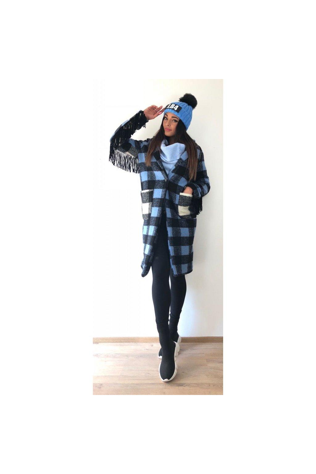 Vlněný kabát Front Street8 s nápisem na zádech - modrý (Velikost Velikost 38)