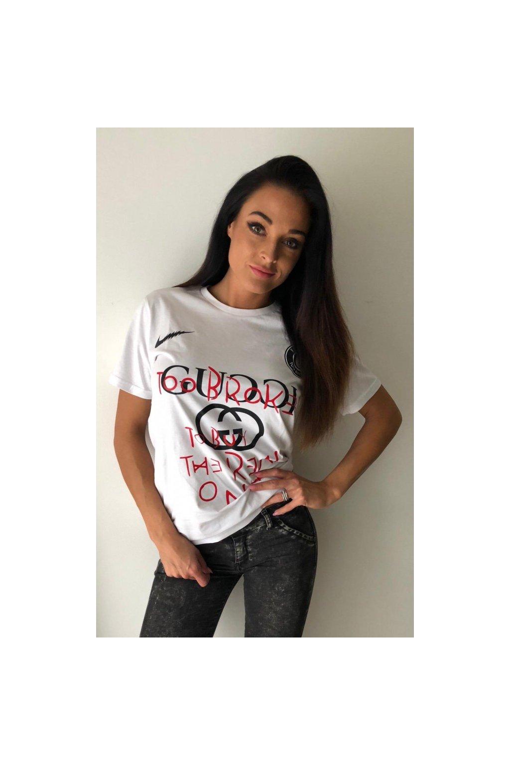 Tričko TooBroke s nápisem Gucci - bílé (Velikost Velikost M)