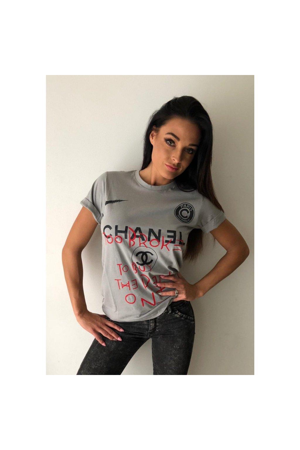 Tričko TooBroke s nápisem Chanel - šedé (Velikost Velikost XS)