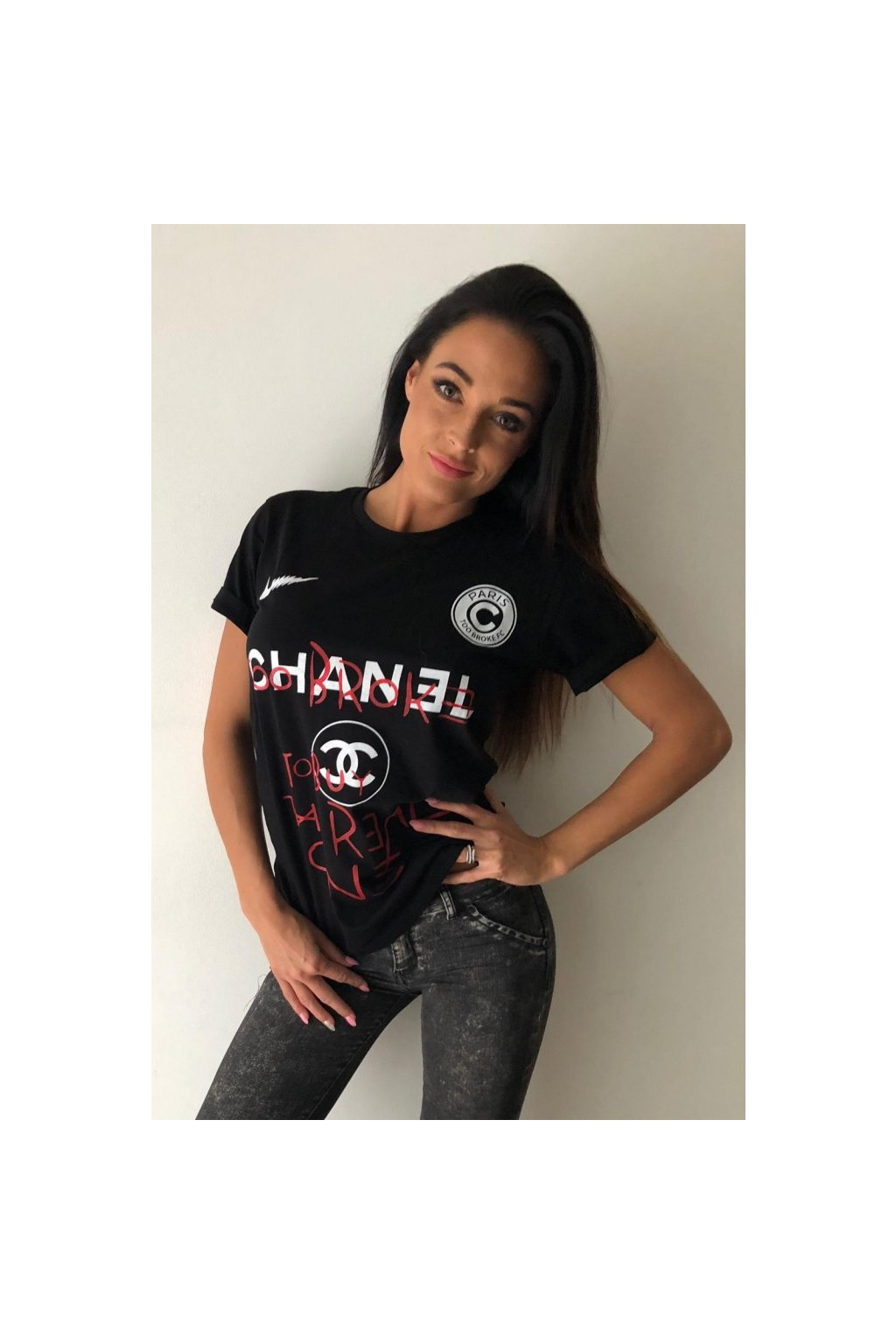 Tričko TooBroke s nápisem Chanel - černé (Velikost Velikost L)