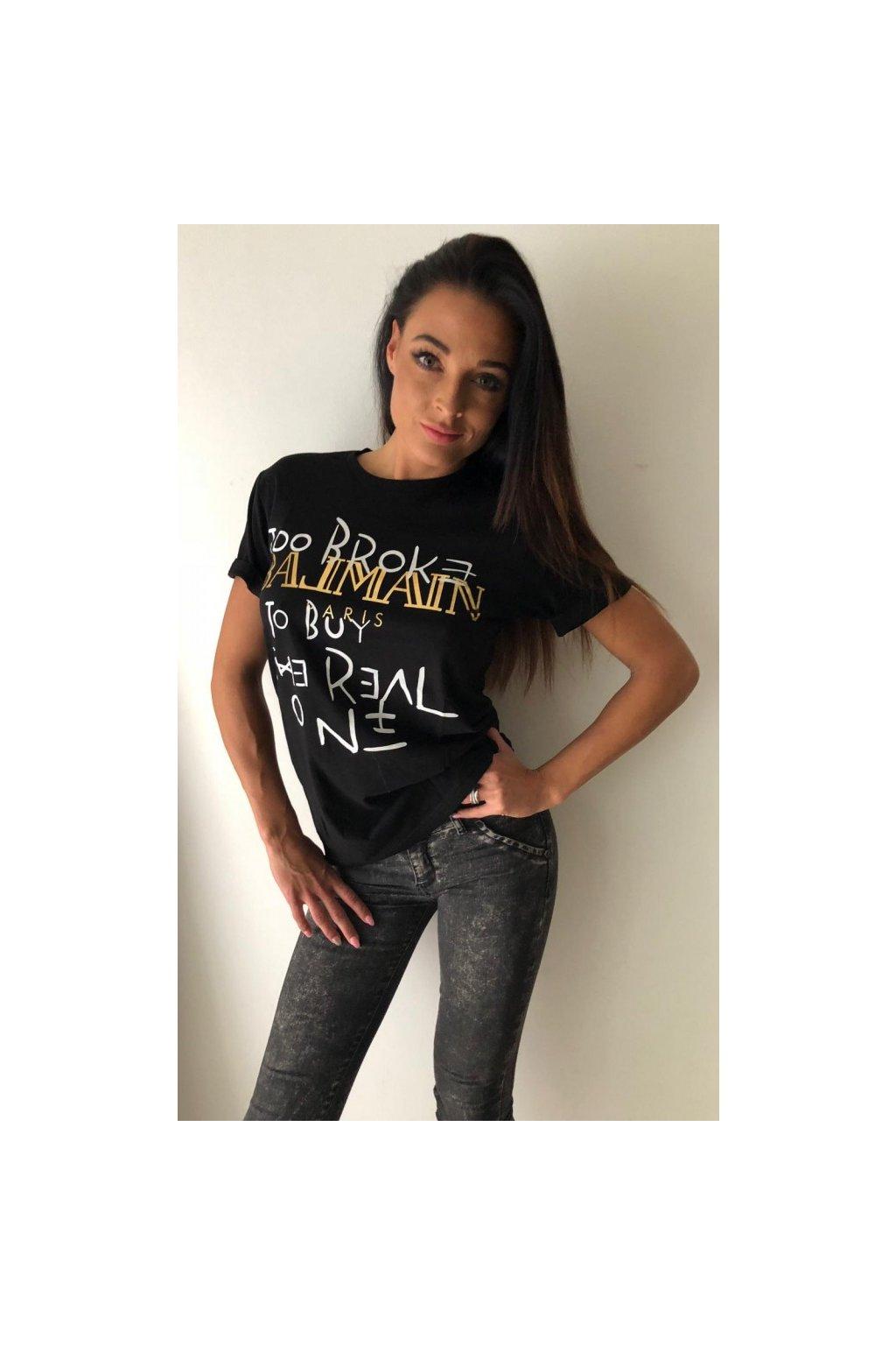 Tričko TooBroke s nápisem Balmain - černé (Velikost Velikost M)