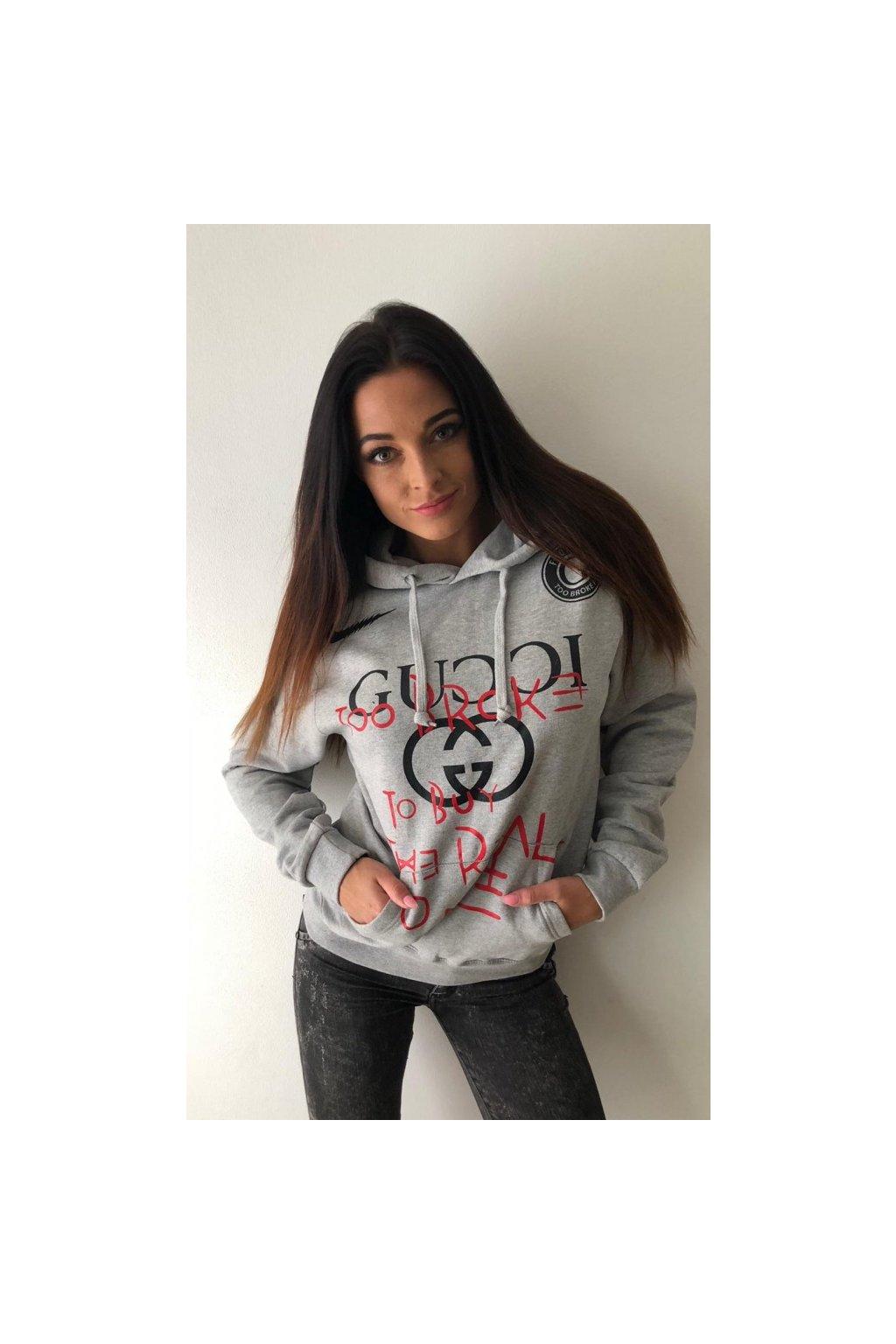 Mikina TooBroke s nápisem Gucci - šedá (Velikost Velikost XS)