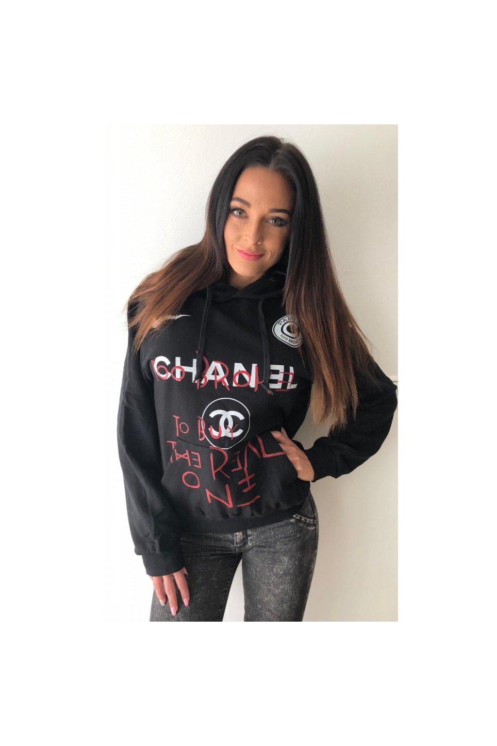 Mikina TooBroke s nápisem Chanel - černá (Velikost Velikost S)